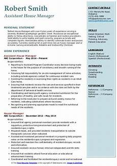 Household Manager Resume House Manager Resume Samples Qwikresume