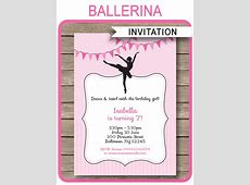 Ballerina Party Invitations Template   Birthday Party