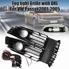 2004 Vw Passat Fog Light Grille Pair Auto Front Bumper Fog Light Grille Cover W White Led