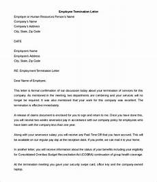 Termination Employee Letter Employee Termination Letter 10 Free Word Pdf Documents