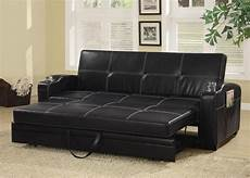 faux leather sofa bed with storage and cup holders from