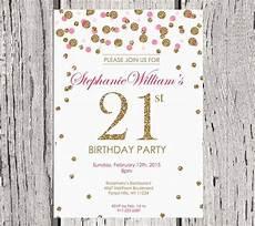 21 Bday Invites 21st Birthday Invitation White Gold Glitter By
