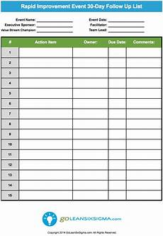 Project Follow Up Template Excel Rapid Improvement Event 30 Day Follow Up List