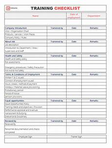 Checklist Excel Employee Training Checklist Template For Excel Amp Word