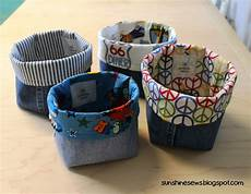 sews recycled denim fabric baskets recycled