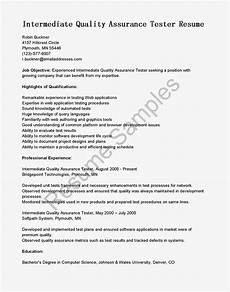 Quality Assurance Resume Samples Resume Samples Intermediate Quality Assurance Tester