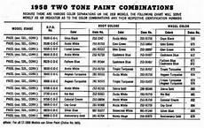 1958 Impala Color Chart 1958 Chevrolet Body Colors 1958 Classic Chevrolet