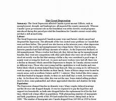 Essay About Great Depression The Effects Of The Great Depression On Canada