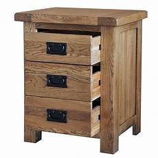 country oak bedside table 3 drawers realwoods