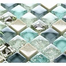 blue tile kitchen backsplash blue glass tile mosaic sheets beige crackle