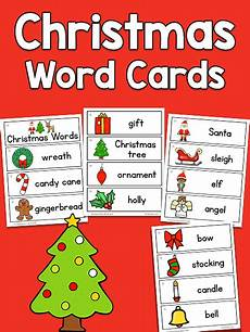 Word Christmas Card Christmas Picture Word Cards Prekinders