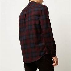 Purple Multi Check Flannel Smart Ring by Lyst River Island Purple Check Flannel Shirt In