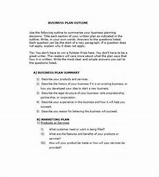 Standard Business Plan Outline Business Plan Outline Template 19 Free Word Excel Pdf