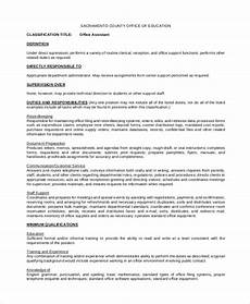 Office Duties Resume Free 8 Sample Office Assistant Job Description Templates