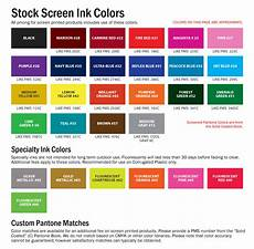 Ink Color Chart Standard Screen Ink Color Chart
