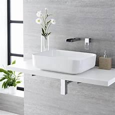rubinetto a cascata lavabo bagno da appoggio rettangolare in ceramica