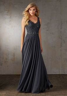 chiffon evening gown with embroidery style 71520 morilee