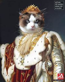 king pet portraits emperor napoleon or cat portrait