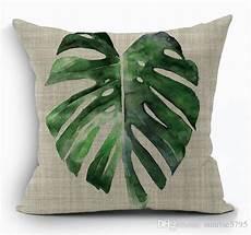 tropical green leaves cushion cover nature banan leaf