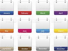 Year Month Calendar Set Of Colorful Calendar Icons With Months Of The Year