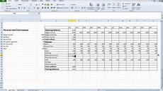 Cash Flow Spreadsheet Example Spreadsheet Personal Cash Flow For Students Youtube