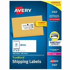 Avery Shipping Labels 5163 Avery Shipping Labels Sure Feed 2 Quot X 4 Quot 1 000 White