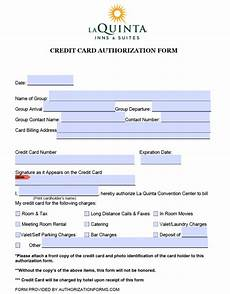 Hotel Credit Card Authorization Form Free La Quinta Hotel Credit Card Authorization Form Pdf
