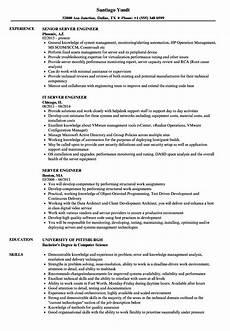 Resume For A Server Server Engineer Resume Samples Velvet Jobs