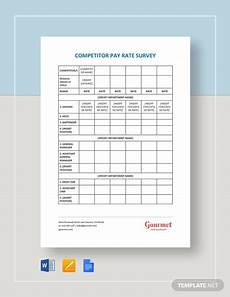 Restaurant Surveys Examples Restaurant Competitor Pay Rate Survey Template