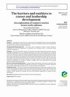 Career Development Articles Pdf The Barriers And Enablers To Career And Leadership