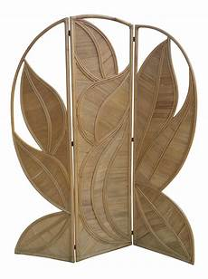 split bamboo palm leaf screen folding room divider chairish