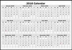 Printable 12 Month Calendar On One Page 2018 Calendar 12 Months On One Page Calendar Template