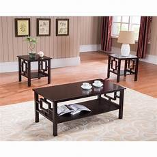 Cf Furniture Living Room 3 Set L Table by 3 Pc Brand Cherry Finish Wood Coffee Table 2 End