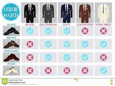 Suit Color Matching Chart Color Mix Match Guide For Shoes And Suit Vector
