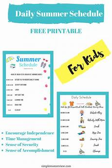 Printable Daily Schedule Kids Daily Summer Schedule For Kids Free Printable Simple