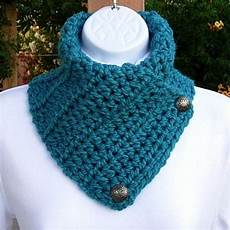 neck warmer scarf solid turquoise teal blue crochet knit