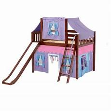 loft bed with curtains slide tent in chestnut