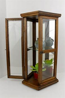vintage oak curio cabinet hanging wall cabinet mirrored glass