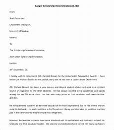 Sample Letter Of Recommendation For Scholarship 30 Recommendation Letter Templates Pdf Doc Free