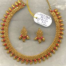 22k Gold Indian Jewellery Designs Vintage Solid 22k Gold Ruby Gemstone Necklace Amp Earring