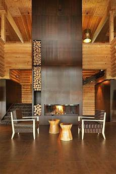 Back To Back Fireplace Design 25 Cool Firewood Storage Designs For Modern Homes