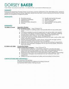 Plumbing Resume Samples Best Apprentice Plumber Resume Example From Professional