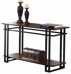 steve silver sofa table in black metal and cherry