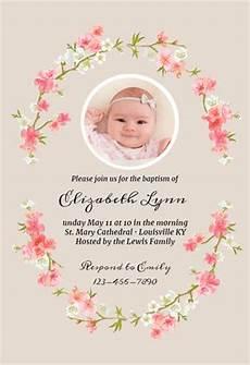 Christening Invitation Card Design Free Download Floral Baby Baptism Amp Christening Invitation Template