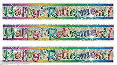 Retirement Banners 3 X Happy Retirement Banners Holographic Party