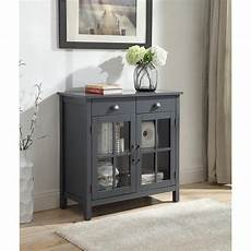 2 drawers grey accent cabinet with 2 glass doors
