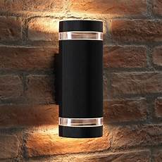 Black Outdoor Up And Down Lights Elton Black Double Up And Down Led Wall Light Transform