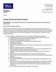 Sample Construction Bid Proposal Construction Proposal Example 31 Construction Proposal