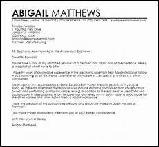 Electronic Cover Letter Sample Electronic Assembler Cover Letter Sample Cover Letter