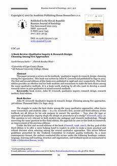 Research Design In Sociology Pdf A Book Review Qualitative Inquiry Amp Research Design